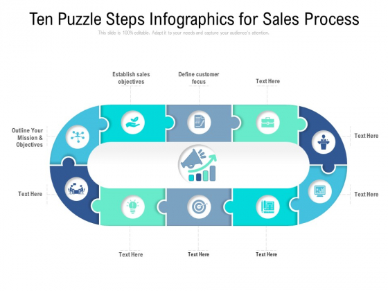 Ten Puzzle Steps Infographics For Sales Process Ppt PowerPoint Presentation Slides Summary