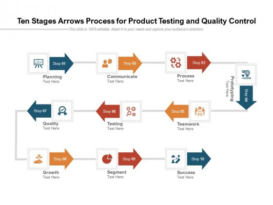 Ten Stages Arrows Process For Product Testing And Quality Control Ppt PowerPoint Presentation Show Tips PDF