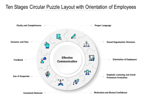 Ten Stages Circular Puzzle Layout With Orientation Of Employees Ppt PowerPoint Presentation Show Portfolio