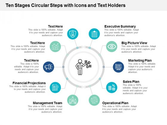 Ten Stages Circular Steps With Icons And Text Holders Ppt Powerpoint Presentation Pictures Slides
