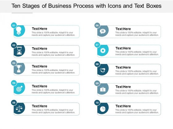 Ten Stages Of Business Process With Icons And Text Boxes Ppt PowerPoint Presentation Inspiration Brochure