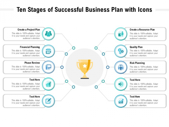 Ten Stages Of Successful Business Plan With Icons Ppt PowerPoint Presentation File Templates