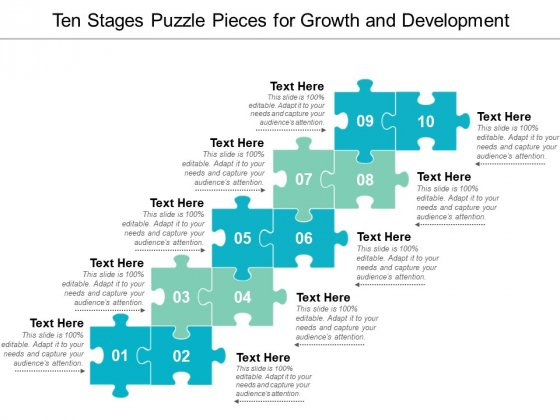 Ten Stages Puzzle Pieces For Growth And Development Ppt PowerPoint Presentation Inspiration Files