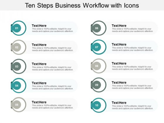 Ten Steps Business Workflow With Icons Ppt PowerPoint Presentation File Tips
