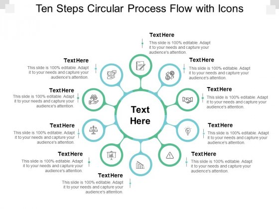 Ten Steps Circular Process Flow With Icons Ppt PowerPoint Presentation Pictures Slideshow