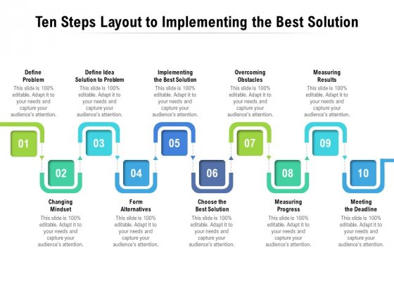 Ten Steps Layout To Implementing The Best Solution Ppt PowerPoint Presentation Summary Format
