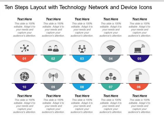 Ten Steps Layout With Technology Network And Device Icons Ppt PowerPoint Presentation Outline Inspiration