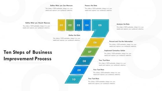 Ten Steps Of Business Improvement Process Ppt PowerPoint Presentation File Visuals PDF