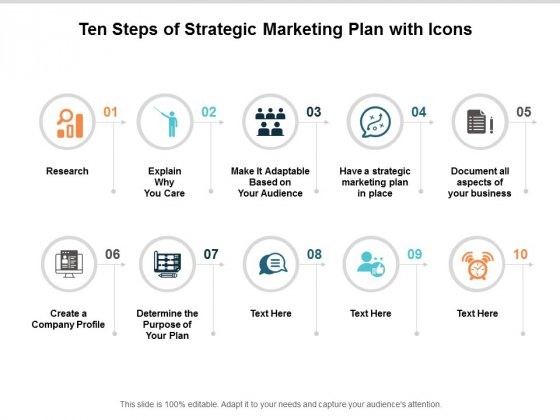 ten steps of strategic marketing plan with icons ppt powerpoint presentation model information