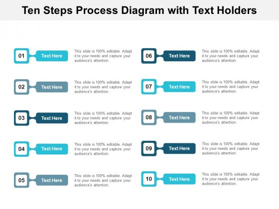 Ten Steps Process Diagram With Text Holders Ppt PowerPoint Presentation Inspiration Themes