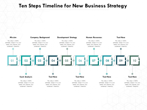 Ten Steps Timeline For New Business Strategy Ppt PowerPoint Presentation File Gallery PDF