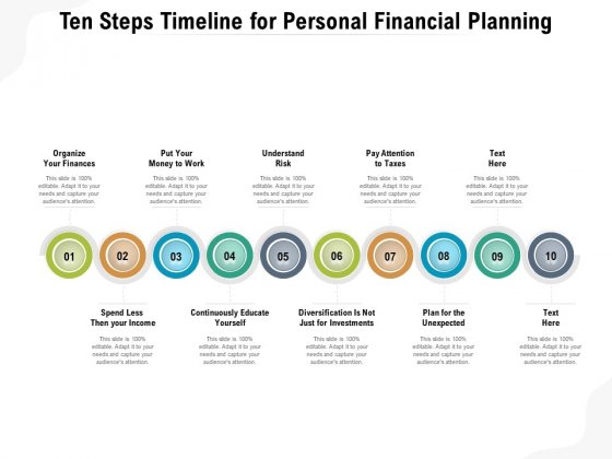 Ten Steps Timeline For Personal Financial Planning Ppt PowerPoint Presentation File Slide Portrait PDF