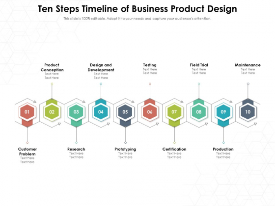 Ten Steps Timeline Of Business Product Design Ppt PowerPoint Presentation File Structure PDF