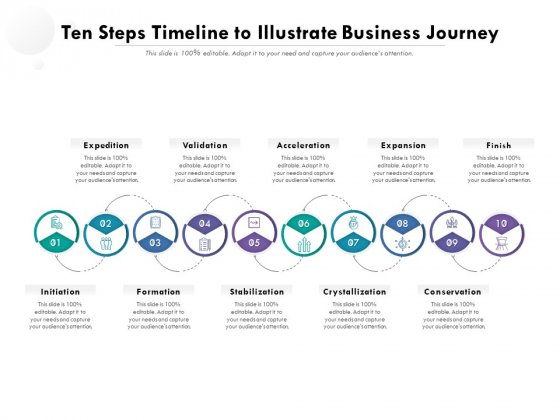 Ten Steps Timeline To Illustrate Business Journey Ppt PowerPoint Presentation File Example PDF