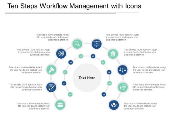 Ten Steps Workflow Management With Icons Ppt PowerPoint Presentation Model Influencers