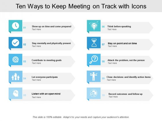 Ten Ways To Keep Meeting On Track With Icons Ppt PowerPoint Presentation Infographics Portrait