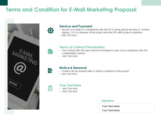 Terms And Condition For E Mail Marketing Proposal Ppt PowerPoint Presentation Outline Background Designs