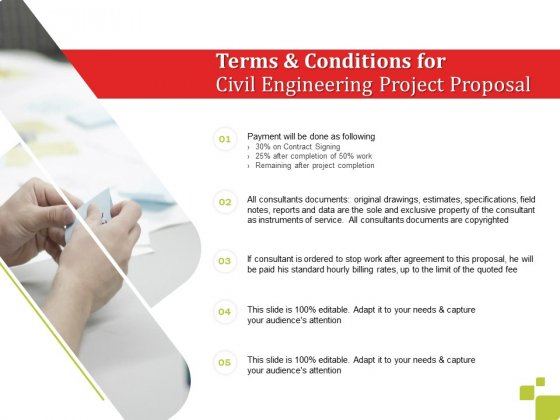 Terms And Conditions For Civil Engineering Project Proposal Ppt Infographic Template Portrait PDF