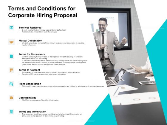 Terms And Conditions For Corporate Hiring Proposal Ppt PowerPoint Presentation Show Model