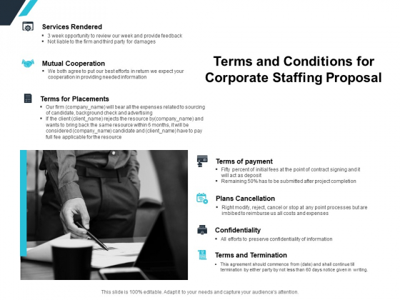 Terms And Conditions For Corporate Staffing Proposal Ppt PowerPoint Presentation Professional Graphic Images