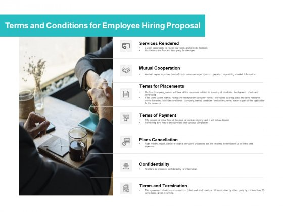 Terms And Conditions For Employee Hiring Proposal Ppt PowerPoint Presentation Layouts Maker