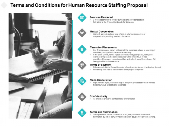 Terms And Conditions For Human Resource Staffing Proposal Ppt PowerPoint Presentation File Demonstration