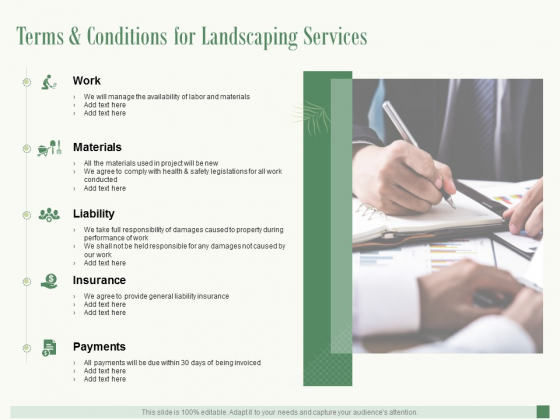 Terms And Conditions For Landscaping Services Ppt PowerPoint Presentation Pictures Elements