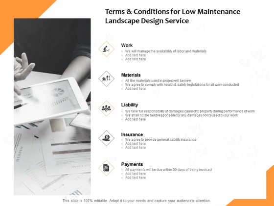 Terms And Conditions For Low Maintenance Landscape Design Service Ppt PowerPoint Presentation Model Gallery