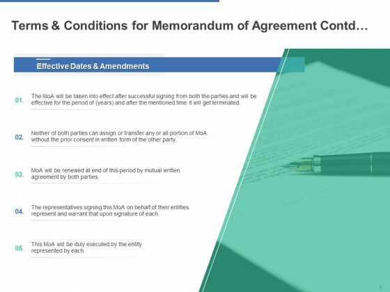 Terms And Conditions For Memorandum Of Agreement Contd Ppt PowerPoint Presentation Portfolio Sample