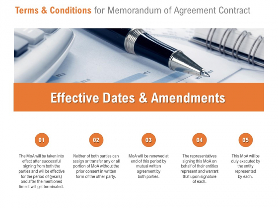 Terms And Conditions For Memorandum Of Agreement Contract Ppt PowerPoint Presentation Outline Designs