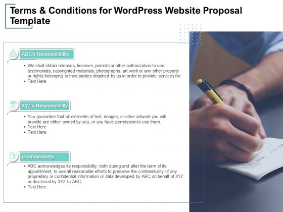 Terms And Conditions For Wordpress Website Proposal Template Ppt PowerPoint Presentation Outline Styles
