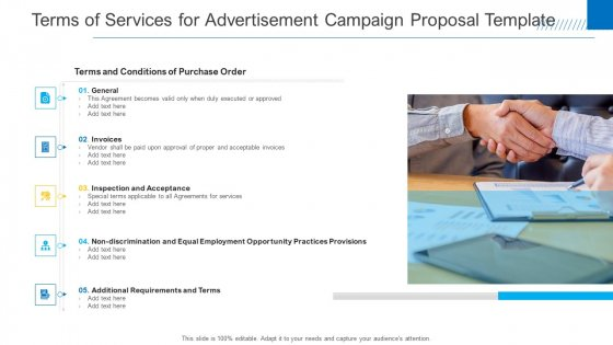 Terms Of Services For Advertisement Campaign Proposal Template Inspiration PDF