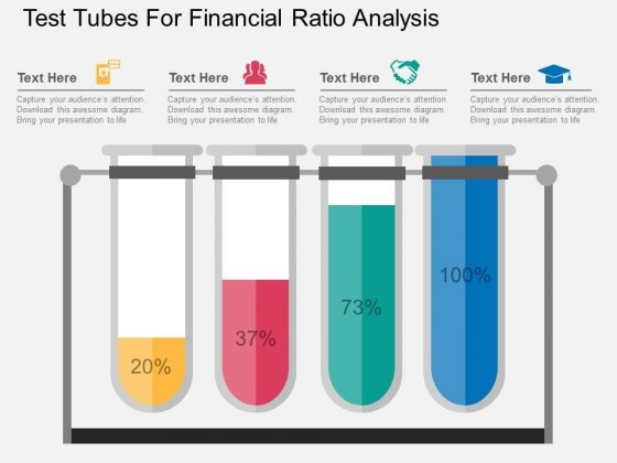 Test Tubes For Financial Ratio Analysis Powerpoint Template