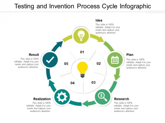 Testing And Invention Process Cycle Infographic Ppt PowerPoint Presentation Styles Aids PDF