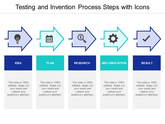 Testing And Invention Process Steps With Icons Ppt PowerPoint Presentation Professional Slide Portrait PDF