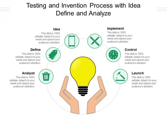 Testing And Invention Process With Idea Define And Analyze Ppt PowerPoint Presentation Themes PDF