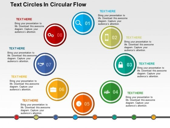 Text Circles In Circular Flow Powerpoint Templates