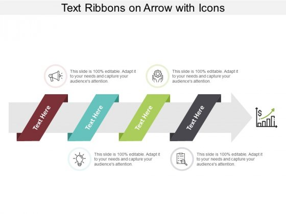 Text Ribbons On Arrow With Icons Ppt Powerpoint Presentation Model Show