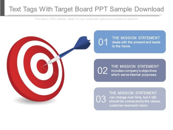 Text Tags With Target Board Ppt Sample Download