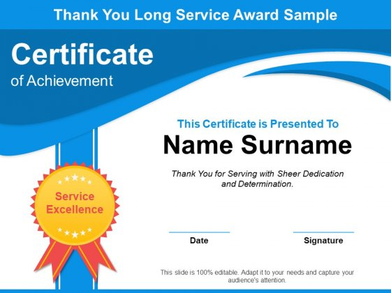 Thank You Long Service Award Sample Ppt PowerPoint Presentation Layouts Examples