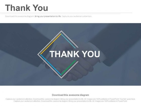 Thank You Slide With Handshake In Background Powerpoint Slides