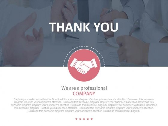 Thank You Text With Handshake Design Powerpoint Slides