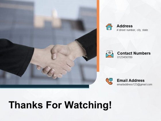 Thanks For Watching Icons Handshake Ppt PowerPoint Presentation Pictures Designs Download