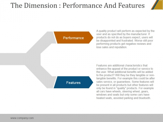 The Dimension Performance And Features Ppt PowerPoint Presentation Clipart