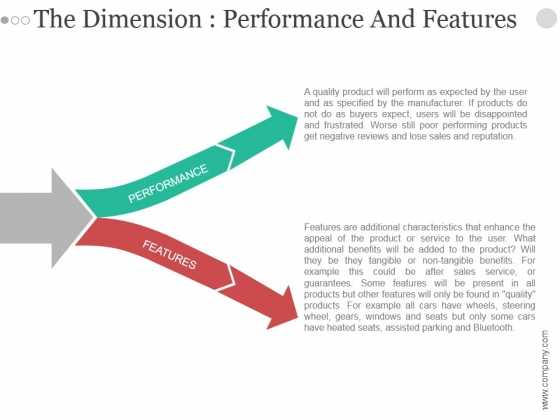 The Dimension Performance And Features Ppt PowerPoint Presentation Inspiration