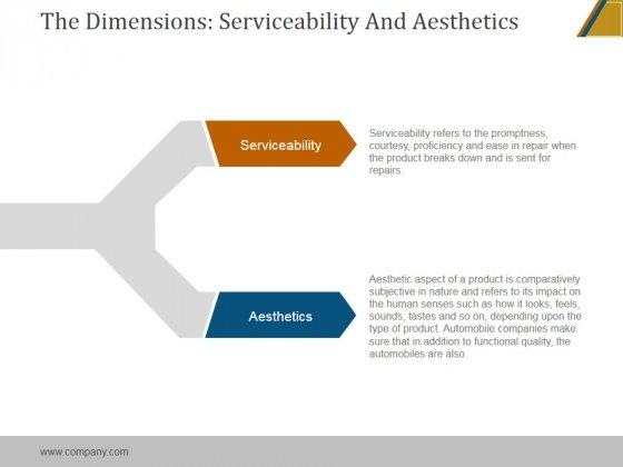 The Dimensions Serviceability And Aesthetics Ppt PowerPoint Presentation Files