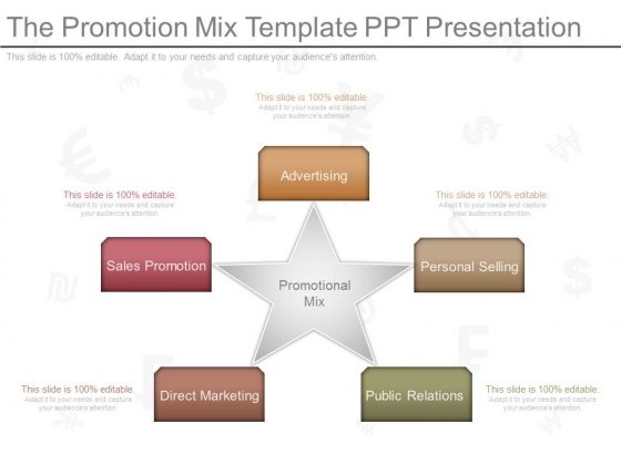 The Promotion Mix Template Ppt Presentation