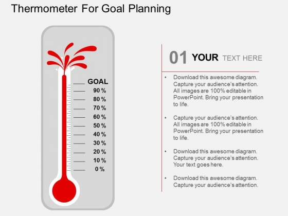 Thermometer For Goal Planning PowerPoint Templates