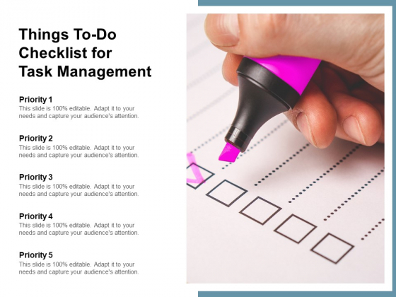 Things To Do Checklist For Task Management Ppt PowerPoint Presentation Portfolio Backgrounds