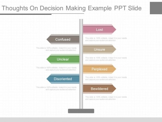 Thoughts On Decision Making Example Ppt Slide